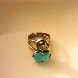 CHAN LUU TURQUOISE/HEMATITE STERLING SILVER RING